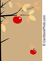 red apple on brown background,