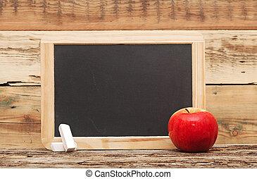red apple on chalkboard, add text to chalkboard