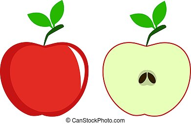 Red Apple on white background- vector illustration