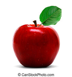 Red apple over white background