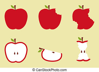 Bitten apples fruit sequence illustration over yellow background. Vector available.