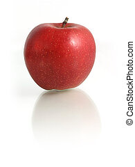 Red Apple on white mirroring background