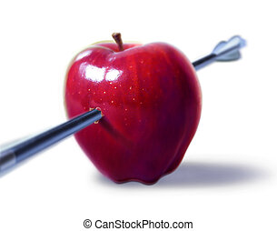 Red apple pierced by an arrow. On white background, with...