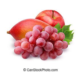red Apple, ripe mango and grapes isolated on white background