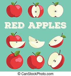 Red apple set. Hand drawn apples.