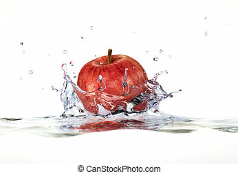 Red apple splashing into water. close up side view, with depth of field. 3 D digital rendering, on white background.