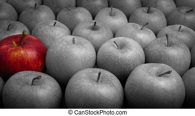 Red Apple Stands Out - Fresh Thinking Concept - Red apple...