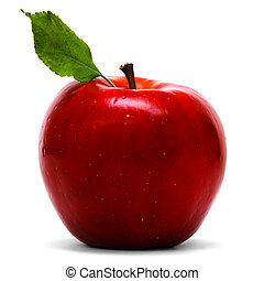 red apple with leaf over white background