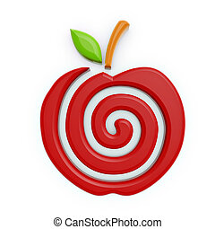 red apple symbol - red apple spiral symbol isolated on white...