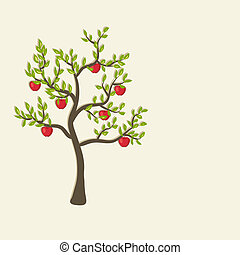 apple tree background - red apple tree background - vector...