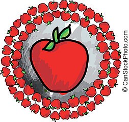 Red apple, vector illustration