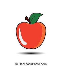 Red apple - vector illustration.