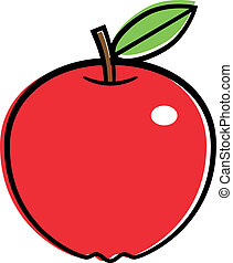 Red apple. Vector illustration.