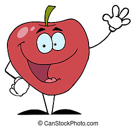 Red Apple Waving A Greeting