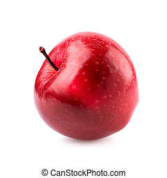 Red apple whole pieces isolated on white background
