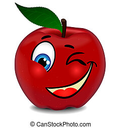 Red apple winks the eye