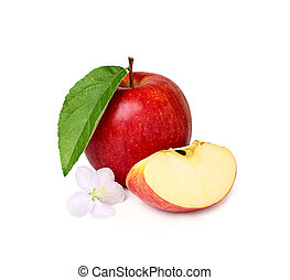 Red apple with a flower and a slice.