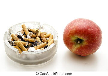 Red apple with ashtray