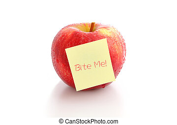 """Red apple with """"Bite me !"""" characters"""
