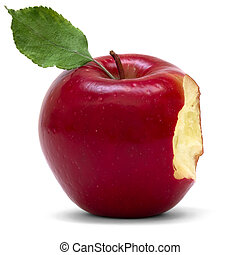 red apple with bite over white background