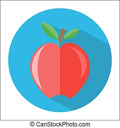 red apple with branch and leaves icon