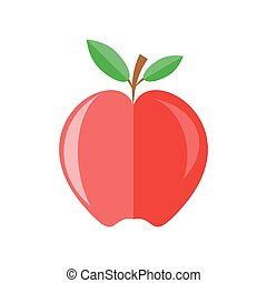 red apple with branch and leaves