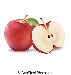 red apple slice. red apple with green leaf and slice. vector realistic illustration. fresh isolated fruit slice o