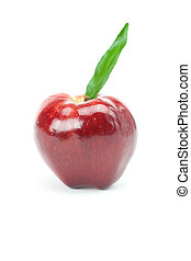 red apple with green leaf isolated on white