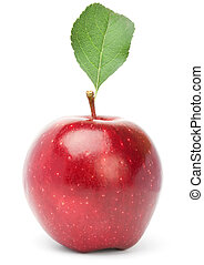 Red apple with green leaf. Isolated