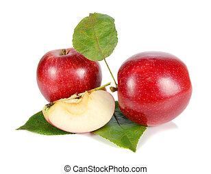 red apple with green leaves