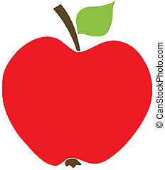 Red Apple With Handle And A Leaf