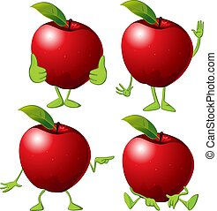 Red apple with hands an legs - vector cartoon illustration
