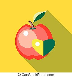 Red apple with heart icon in flat style