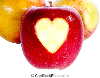 Red apple with heart isolated on white