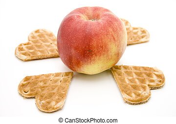 Red apple with heart waffles