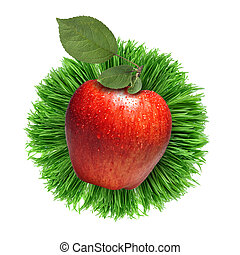 red apple with in grass isolated on white