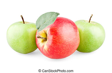 Red apple with leaf and two green apples