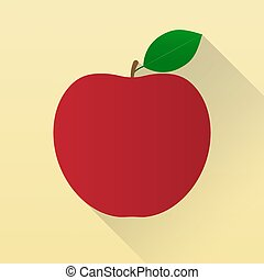Red apple with leaf. Fruit. Isolated on light gold background. Vector illustration.
