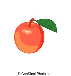 Red apple with leaf icon, cartoon style