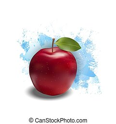 Red apple with leaf Realistic illustration.