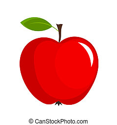 Red apple with leaf - vector illustration