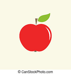 Red apple with leaf. Vector illustration