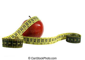 Red apple with measuring tape