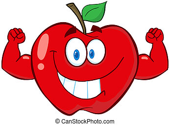 Red Apple With Muscle Arms