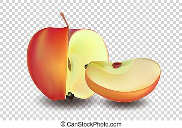 Red apple with slice - vector illustration. Realistic vector EPS 10 .
