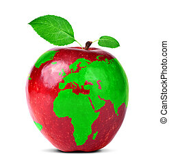 Red apple with world map isolated on white background.