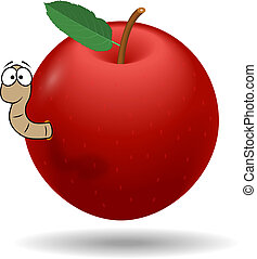 Red apple with worm