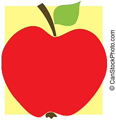 Red Apple With Yellow Background