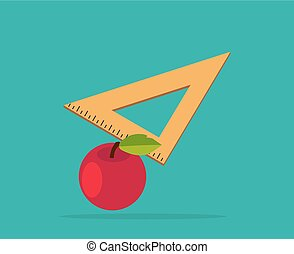 Red Apple with Yellow Measuring Ruler