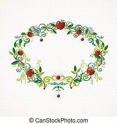 Red apple wreath cute illustration